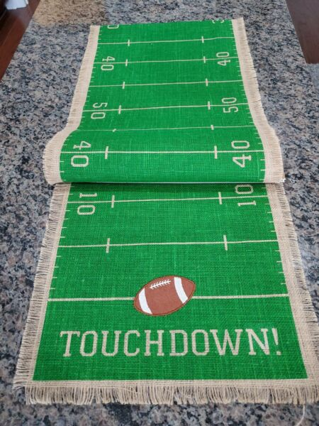 Green Touchdown Burlap Table Runner 14x74 Great for NFL Parties