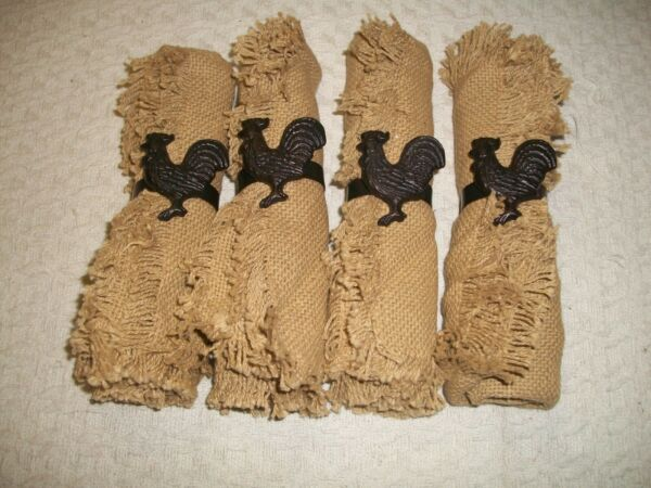 Set Of 4 Cast Iron Rooster Napkin Rings with Burlap Napkins 17quot; Square
