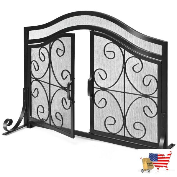 Fireplace Screens Doors Fireplace Screen With Hinged Magnetic Two Doors Flat Gua