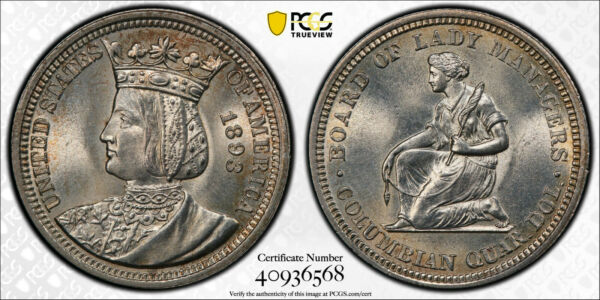 1893 P Isabella Silver Commemorative Quarter 25C PCGS MS 65 RARE HIGH GRADE