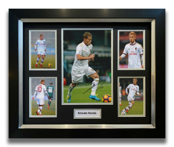 KEISUKE HONDA HAND SIGNED FRAMED PHOTO DISPLAY AC MILAN AUTOGRAPH.