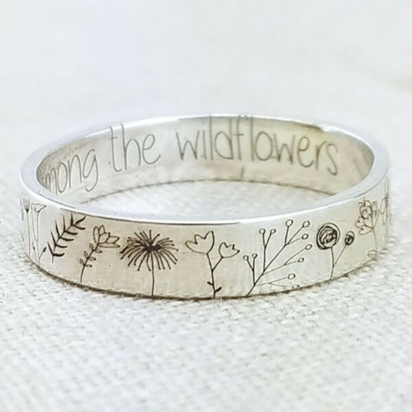 925 Silver Handmade Carved Flowers Plant Ring Women Wedding Jewelry Size 5 10