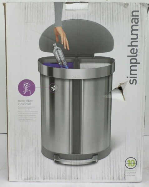 SIMPLEHUMAN STAINLESS STEEL DUAL COMPARTMENT STEP TRASH CAN 55 LITER QQQ 292 $109.99