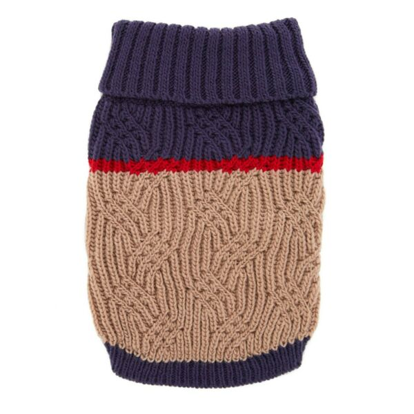 NWT Top Paw Dog Small Tan amp; Navy Pet Sweater NEW In Store $9.50