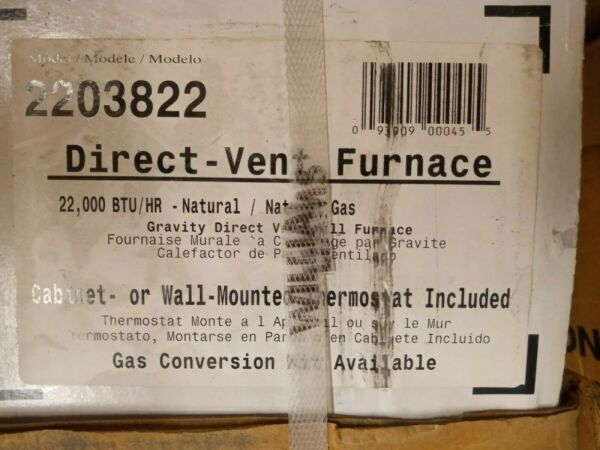 Williams 2203822 Direct Vent Wall Heater 22000 BTUH 67% AFUE Natural Gas $499.99