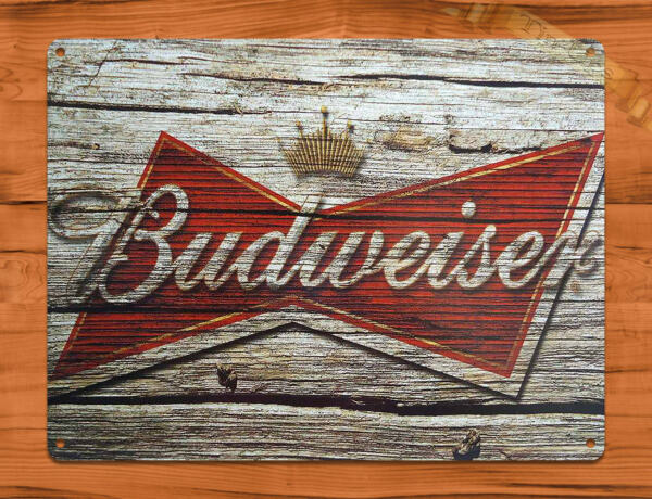 TIN SIGN quot;Budweiser Woodquot; Beer Bar Bud Garage Wall Decor $7.35