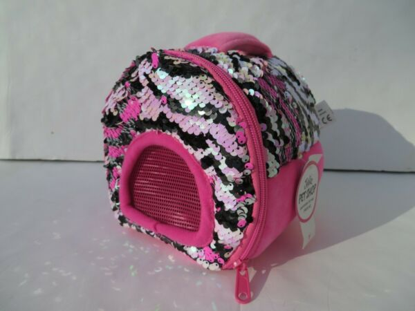 Justice Pet Shop NEW Toy Carrier Pet Plush Soft Toys Puppy Kitty House Sequin $22.00