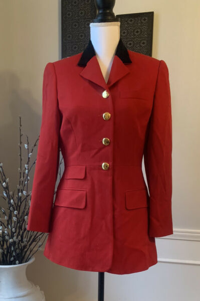 Lauren Ralph Lauren Red Wool Long Peplum Blazer Jacket Vintage USA Rare Women's