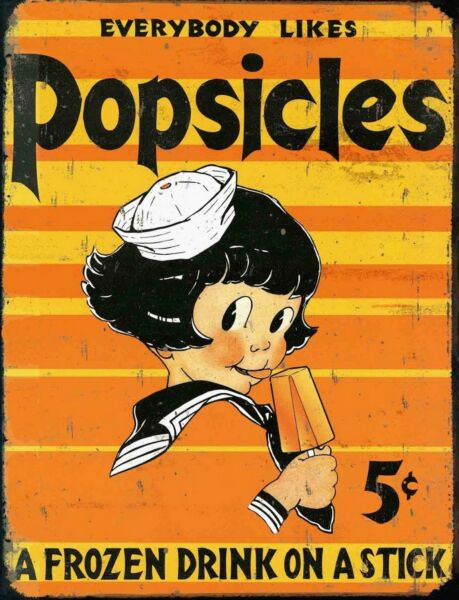 TIN SIGN quot;Popsicle Girlquot; Dessert Vintage Garage Wall Decor Kitchen Summer Po $7.35