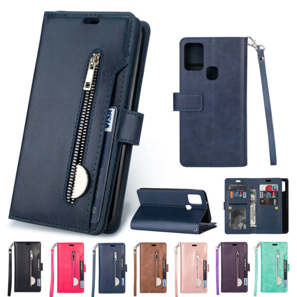 For Samsung Galaxy A21s Case Wallet Leather Magnetic Card Cover Zipper Luxury $13.99