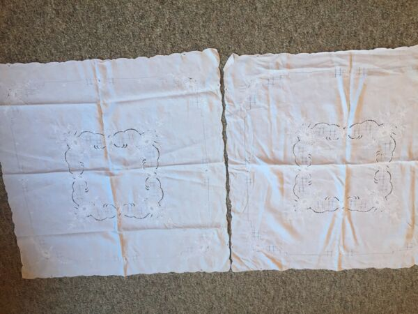 Set of 2 Linen Tablecloths 40quot; x 40quot; embroidered