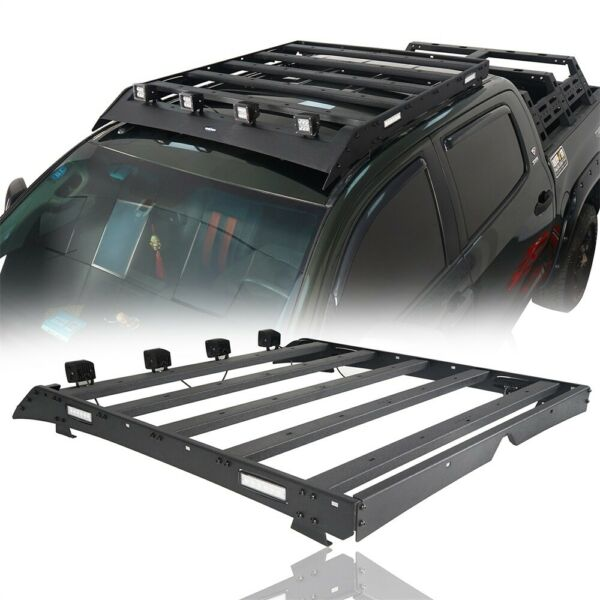 For 07 13 Tundra Crewmax 4 Doors Roof Carrier Steel Rack Basket w Led Lights $329.97