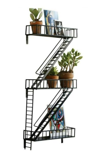 Home Decor Metal Fire Escape Wall Shelf Ladders