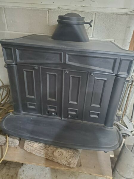 Franklin Wood Burning Stove Fireplace Cast Iron 70s converted