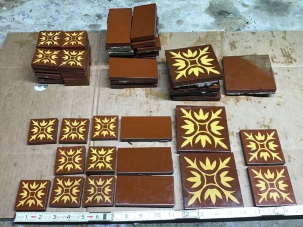 """LOT Of 54 A. E. Tile Co. ANTIQUE FIREPLACE BROWN 2"""" x 2"""" 4 3"""