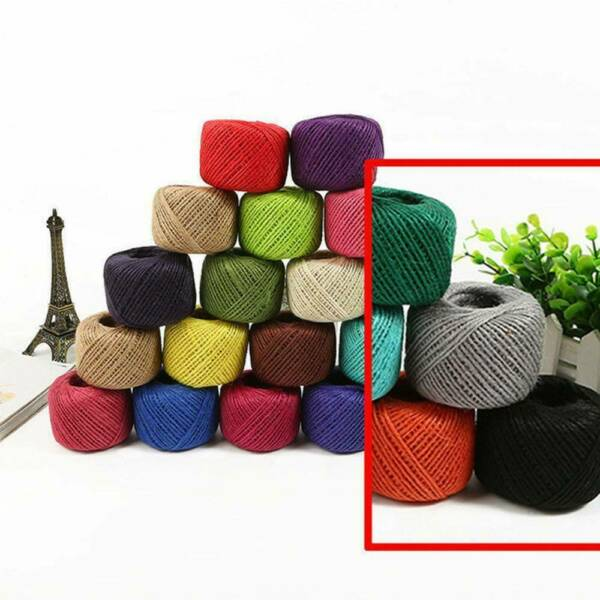 50M 3ply Burlap Natural Fiber Jute Twine Rope Cord String Craft Decor Ribbon US