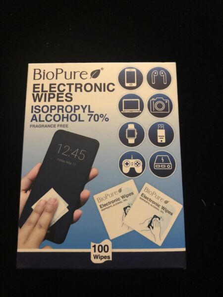 BioPure Electronic Wipes 100 Count Isopropyl Alcohol 70% Frangrance Free New $8.00