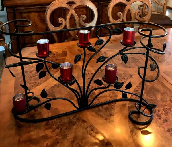 Bronze Black Fireplace six candle holder insert patio accessory w 6 votive cups