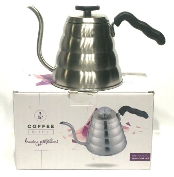 Gooseneck Pour Over Stovetop Coffee Tea Kettle 40oz 1.2L Built In Thermometer