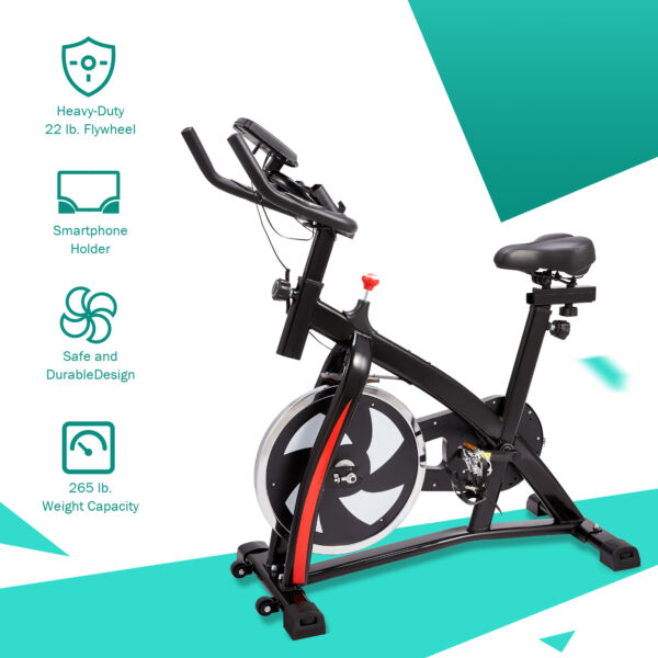 Indoor Exercise Stationary Bike Home Gym Workout Equipment with Adjustable Seat $164.30