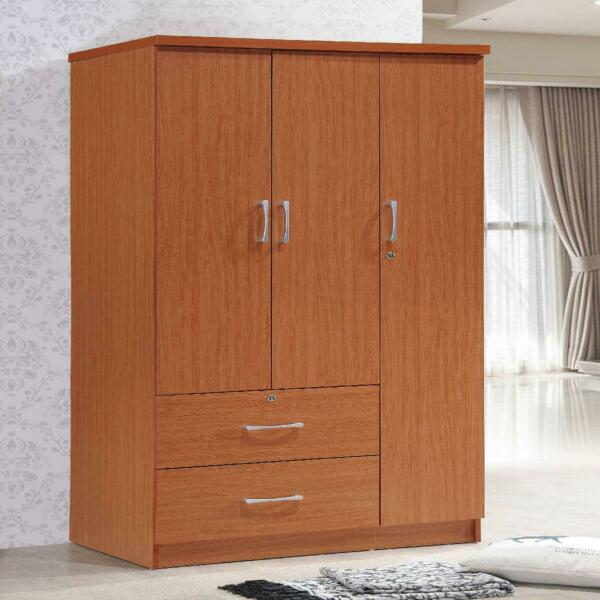 Bedroom Armoire 3 Doors 2 Drawers Closet Wardrobe Clothes Storage Cabinet Brown