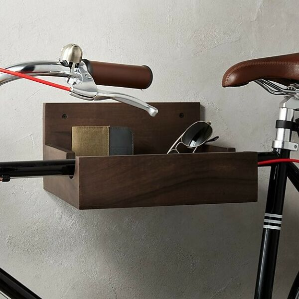CB2 Solid Acacia Wood Wall Bike Storage Unit Mount with Shelf Great Condition $25.00