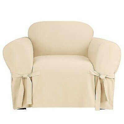 Heavyweight Cotton Duck Chair Slipcover Natural Sure Fit