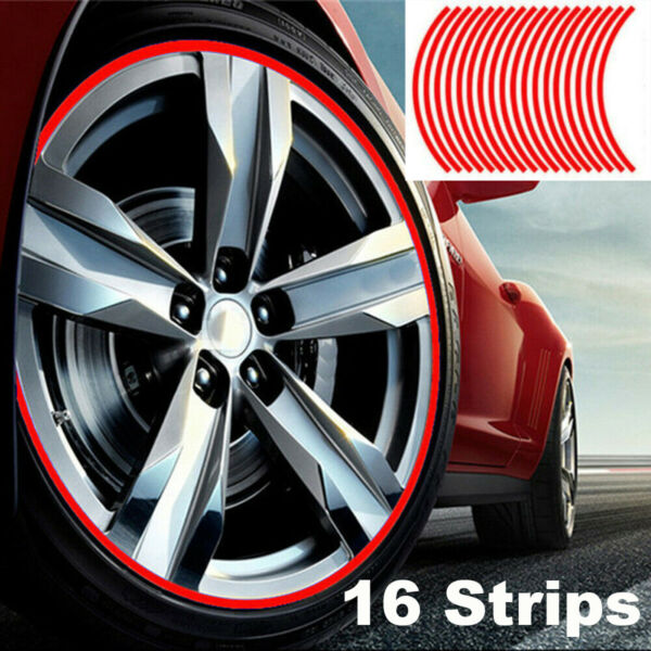 16Pcs Strip Wheel Sticker Decals 18quot; Reflective Rim Tape for Bike Motorcycle Car $2.36