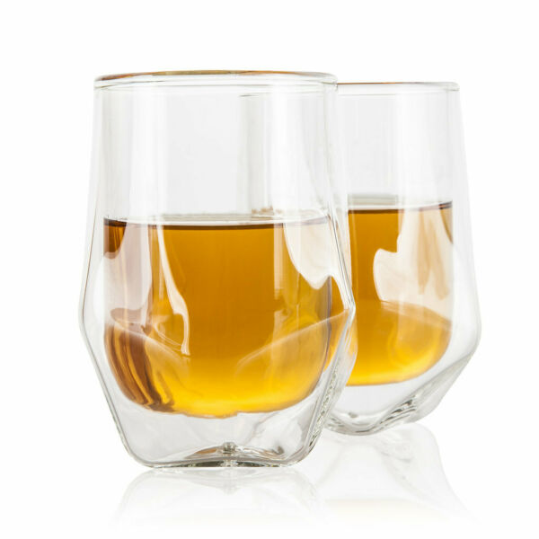Handblown Whiskey Tasting Glasses Double Wall Whisky Drinking Glass Set of 2 $19.95