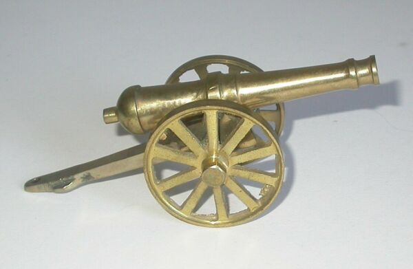 """Vintage Brass Cannon 5"""". Small Scale Cannon."""