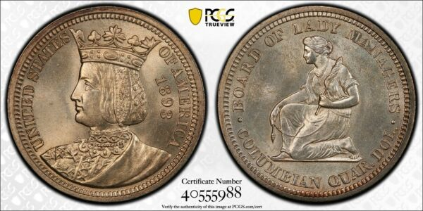 1893 Isabella Silver Commemorative Quarter PCGS MS 65 Gold Shield