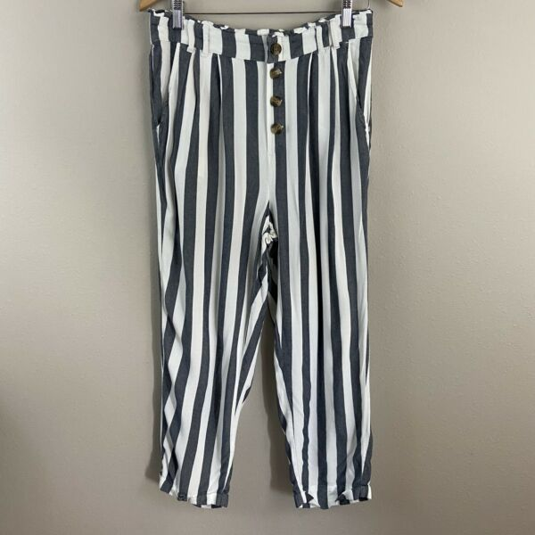 American Eagle Outfitters Paper Bag High Grey White Waist Striped Pants Sz L