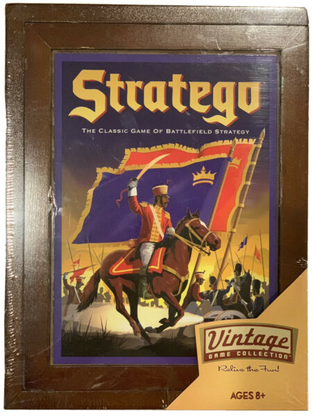 New 2010 Milton Bradley Stratego Vintage Game Collection Wood Box