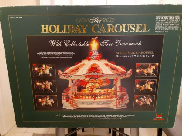 RARE New Bright Supersize Animated Christmas Holiday Musical Carousel WORKS
