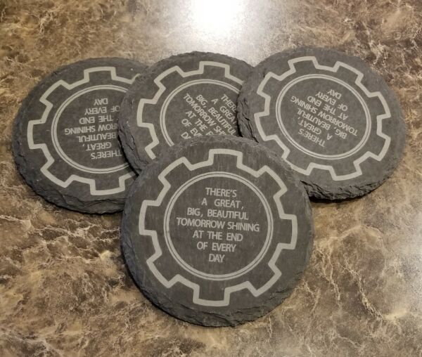 Engraved Slate Carousel of Progress Inspired Coater Set of 4