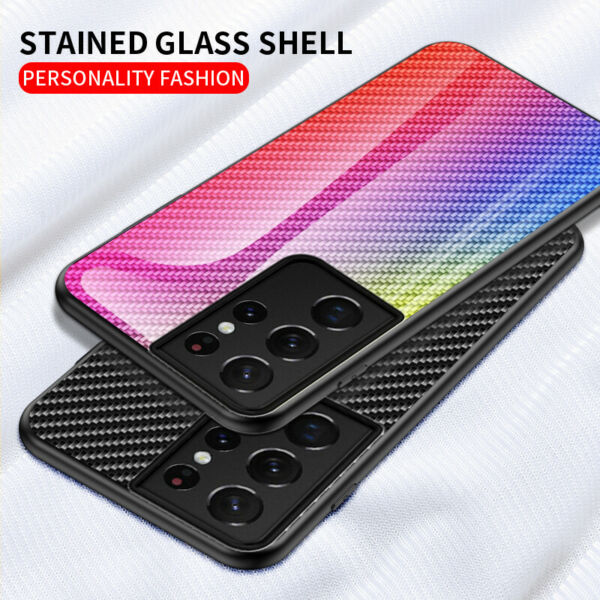 For Samsung Galaxy S21 S21 Ultra Gradient Pattern Glass Phone Case Cover Luxury $8.99