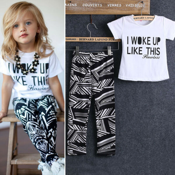 Toddler Kids Baby Girls Clothes Top Tee T shirt Long Pants Casual Outfit Set