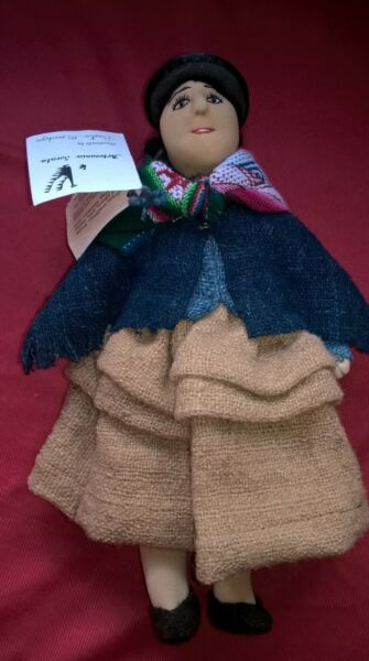 Bolivian Handmade Doll in Burlap Dress with Tag Good Condition
