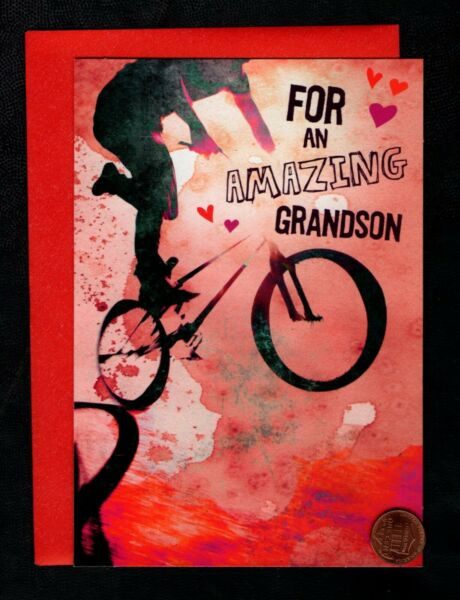 Valentine Boy Riding Bicycle Bike For Grandson Valentine#x27;s Day Greeting Card $2.99