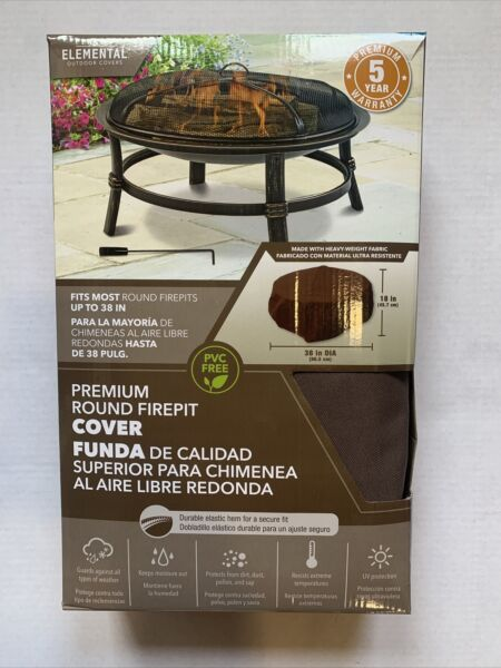 Elemental Outdoor Covers Premium Round Fire Pit Cover 38quot; x 18quot; NEW $19.80