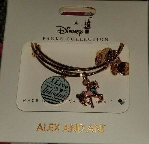 Disney Parks Alex and Ani I Live In Fantasyland Carousel Bangle Rose Gold New