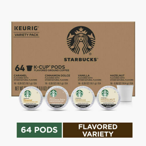 Starbucks Flavored K Cup Coffee 64 Pods — Variety Pack for Keurig BBD 12 2020