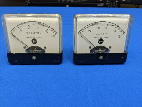 Vintage Panel Meters 25 Amps and 50 Volts no shunts required