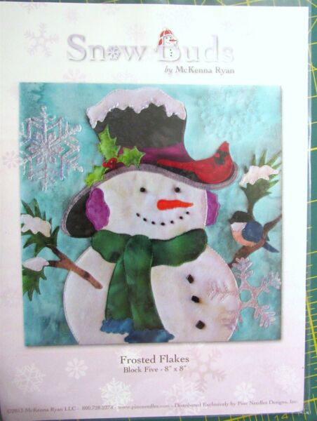 New Snow Buds Pattern McKenna Ryan quot;Frosted Flakesquot; Block 5 Snowman Bluebird