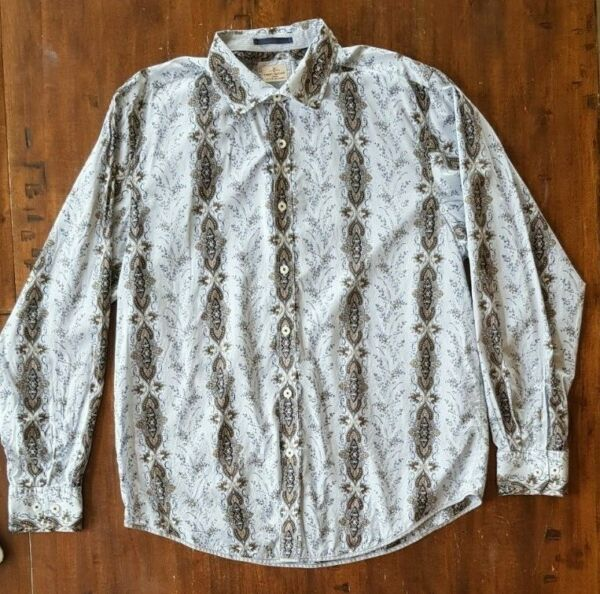 Tommy Bahama Mens Button Front White Paisley Blue Brown Stripe Button Shirt XL $39.99