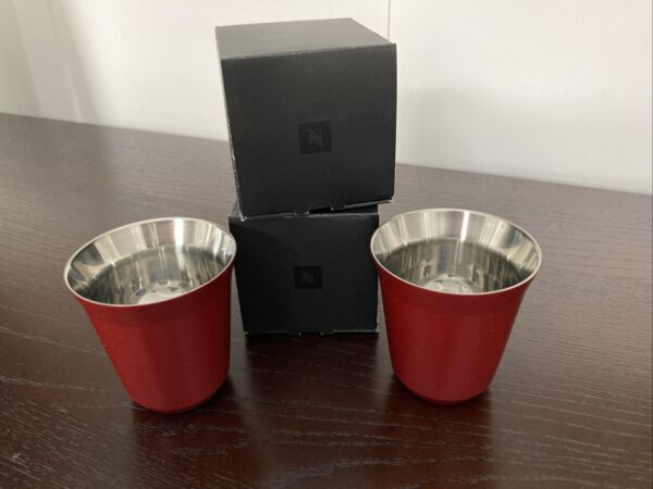 NEW 2 Nespresso Pixie Lungo Cups Cherry Red 160 ml Stainless Steel