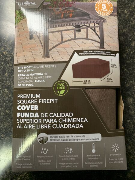 Elemental Outdoor 🔥Covers Premium Square 🔥Fire Pit Cover 38quot;x38quot;x38quot; NEW $19.99