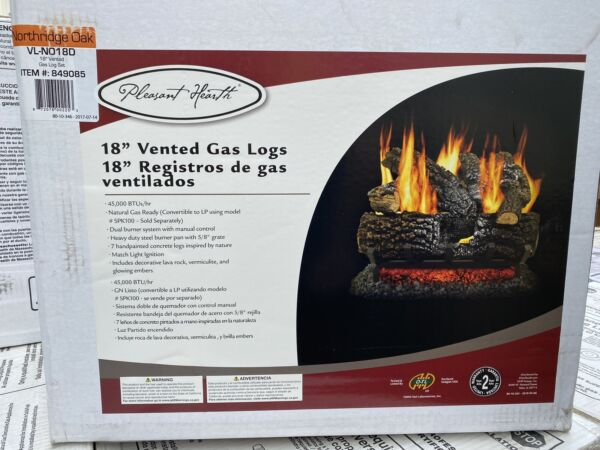 Pleasant Hearth 18 in. vented natural gas fireplace log set 45000 BTU NEW