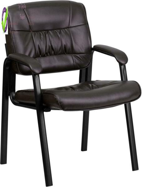 Flash Furniture Brown Leathersoft Executive Side Reception Chair With Black Meta $89.28