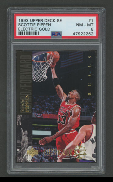 1993 UD SE Basketball Card #1 Scottie Pippen Electric Gold PSA 8 NM MINT $139.99